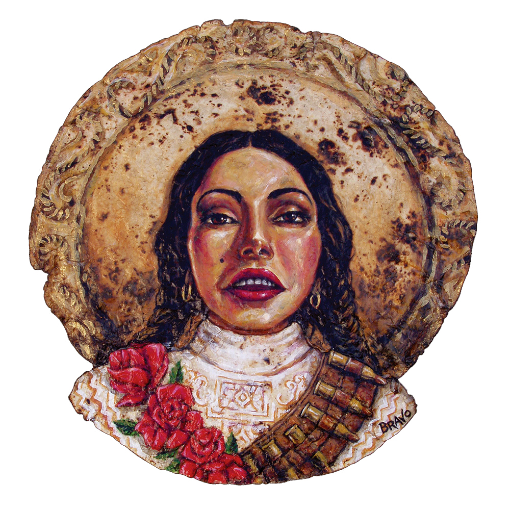 Tortilla Art: Besos y Balas Portrait by Joe Bravo