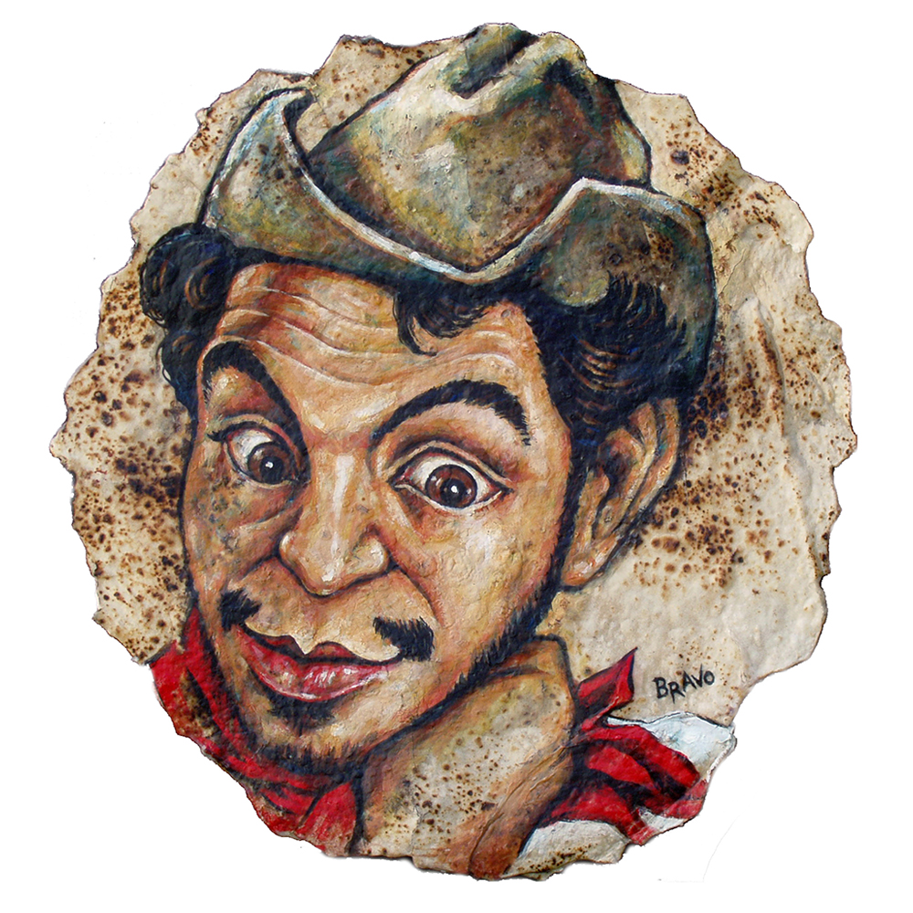 Tortilla Art: Cantinflas Portrait by Joe Bravo