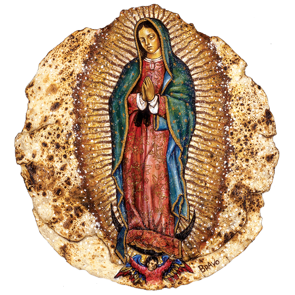 Tortilla Art: La Virgen de Guadalupe by Joe Bravo