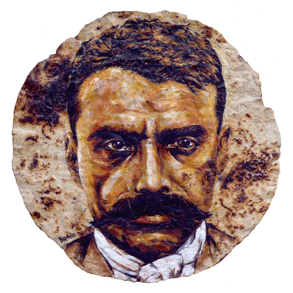 Tortilla Art: Zapata Portrait by Joe Bravo